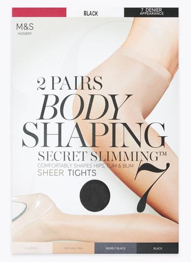 Marks & Spencer 2'li 7 Denye Secret Slimming Toparlayıcı Külotlu Çorap Seti Siyah